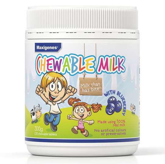 【新西兰仓】Maxigenes chewable milk blueberry蓝莓奶片 150粒